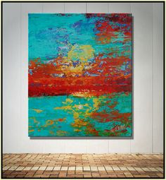 """Original Abstract Painting Contemporary Pallette Knife Art Turquoise REd COral """" REVIVAL"""" by Catherine Claire McElveen"""