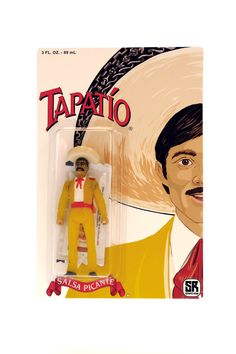 "Tapatío Resin Figure (LE 6) $50 This 3.75"" resin action figure is made in reference to Tapatío Hot Sauce and their charro mascot, hand-cast and hand-painted by Robert Rodriguez, aka Scraped Resin. Packaged in a blister bubble on a full color 6 x 9 in. backing card, each piece comes with a packet of real hot sauce and a sombrero accessory that magnetically attaches to the figure. Limited to an edition of 6 pieces worldwide, with one sent to Tapatío."