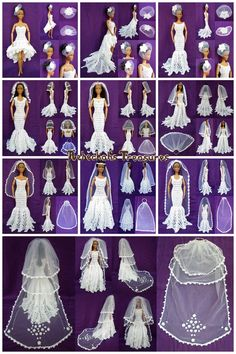 crocheted barbie doll clothes Part 3 - Wedding Accessories - Veils Crochet Pattern for Fashion Dolls Crochet Barbie Patterns, Crochet Doll Dress, Barbie Clothes Patterns, Crochet Barbie Clothes, Clothing Patterns, Crochet Pattern, Doll Dress Patterns, Barbie Bridal, Barbie Wedding Dress