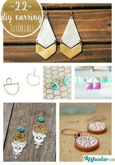 22 DIY Earrings Tutorials That Knocked Our Socks Off ADDED BY: Laurie...How to make earrings with these gorgeous pictured DIY earring tutorials which include stud earrings, big hoop earrings, dangle earrings, that you can make out of fabric, wire, crochet, and even clay!