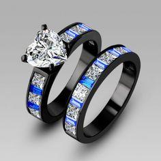 Heart-Cut Sapphire diamonds 14K Black Gold Plated 925 Sterling Silver Women's Engagement Ring /#weddingset #rings #jeulia.