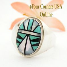 Size 14 Zuni Inlay Ring Shirley Baca NAR-09481CL Closeout Final Sale Four Corners USA OnLine Native American Silver TQ (Turquoise) Jewelry Men's Jewelry Rings, Shell Jewelry, Jewelry Shop, Wedding Band Styles, Wedding Ring Bands, Four Corners Usa, Native American Rings, Cowgirl Bling, Jewelry Drawing