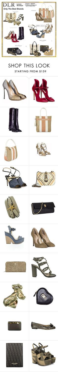 """DLR Boutique #DLR"" by lorrainekeenan ❤ liked on Polyvore featuring Casadei, Borbonese, Jimmy Choo, Valentino, Salvatore Ferragamo, Yves Saint Laurent, women's clothing, women, female and woman"