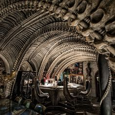 H.R. Giger Bar in Gruyéres, Switzerland by H.R. Giger (copyright 2016 Andy Davies, HR Giger Museum)