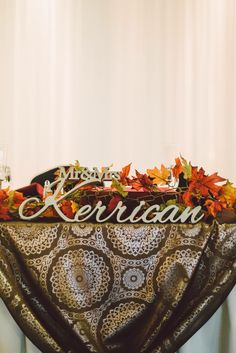 Wonderful and elegant autumn wedding! Family name sign in Champagne metallic color. By SunFla!  Contact us and we can create a sign with your family sign :)