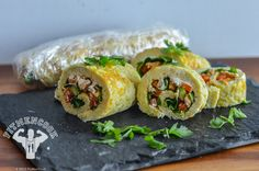 Turkey & Veggie Omelette Roll  Ingredients for up to 2 servings:  1 Egg 4 Egg Whites 3oz Cooked lean ground turkey Handful of spinach 1/3 Cup bell peppers 1oz Goat Cheese  Approx macros for entire roll: 350 calories, 50g protein, 1g carbs, 11g fat