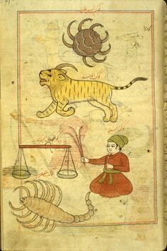 Five zodiacal constellations: Cancer, Leo, Libra, Virgo (a man sitting cross-legged with a sheaf of wheat in his right hand), and Scorpio. From a copy of 'Ajā'ib al-makhlūqāt wa-gharā'ib al-mawjūdāt (Marvels of Things Created and Miraculous Aspects of Things Existing) by al-Qazwīnī (d. 1283/682). Neither the copyist nor illustrator is named, and the copy is undated. Possibly produced in provincial Mughal India, the Punjab, in the 17th century.