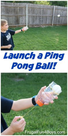 Make a Ping Pong Ball Launcher! Fun homemade toy and combines STEM learning and play!