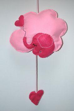 Fiocco nascita a forma di nuvola con elefantino, by Mywonderland, 15,00 € su misshobby.com