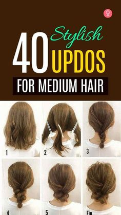 40 Quick And Easy Updos For Medium Hair: When it comes to updos, tresses of medium length can present a very pretty picture, if done right. for medium length hair 40 Quick And Easy Updos For Medium Hair Braided Hairstyles Updo, Up Hairstyles, Easy Wedding Hairstyles, Easy Mom Hairstyles, Natural Hairstyles, Fringe Hairstyle, Running Late Hairstyles, Interview Hairstyles, Ponytail Hairstyles Tutorial