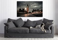 """canik126 Canvas Print Stretched Wrapped England London Big Ben night 26x43"""""""