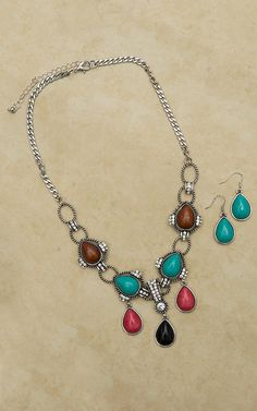 Red, Turquoise, Brown, & Black with Bling Necklace and Earring Set