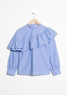 & Other Stories image 2 of Striped Cotton Shirt in Blue Striped Stylish Clothes For Women, Girls Fashion Clothes, Winter Fashion Outfits, Stylish Dresses, Trendy Fashion, Girl Fashion, Fashion Dresses, Cute Blouses, Blouses For Women