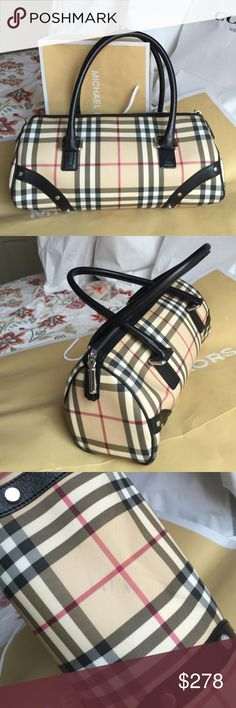 Burberry Purse Authentic Burberry Handbag, some stain out side of bag see 3rd picture, but inside very good Condition  Burberry Bags Shoulder Bags