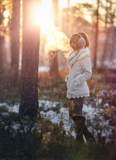 girl, winter, forest, snow, beautiful, pics
