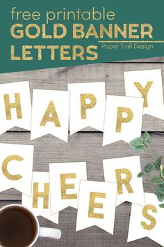 Use these free printable gold banner letters to create a custom banner for a birthday, wedding, graduation, or any occasion you need. Seal Crafts For Kids, Free Printable Banner Letters, New Year Banner, Gold Banner, Easter Banner, Paper Trail, Christmas Banners, Custom Banners, Happy Birthday Banners