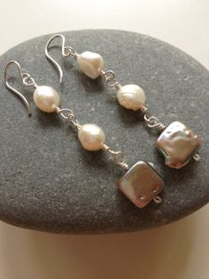 Grey Square Coin Earrings White Baroque Pearl by FMBdesigns, $65.00
