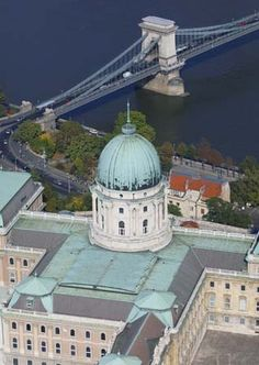 Royal Palace and the Chain Bridge fro ma bird's-eye view #Budapest #Hungary