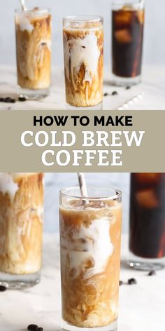 How to Make Cold Brew Coffee - Enjoy a delicious cold brew coffee this summer, and save money by skipping the coffee shops. Healthy Iced Coffee, Homemade Iced Coffee, Iced Coffee At Home, Best Iced Coffee, Iced Coffee Drinks, Coffee Drink Recipes, Starbucks Recipes, Keurig Recipes, Coffee Coffee