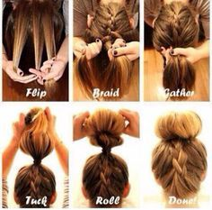 Quick And Easy Hair Style-flip head over -take 3 parts -do normal French braid -gather all your hair and tie it -role bun,spreading hair around it -clip it and your done
