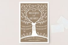 """Kraft Woodland Tree"" - Rustic Wedding Invitation Petite Cards in Buckwheat by Coco and Ellie Design."