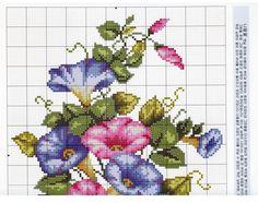 Un vero trionfo di colori, una gioia per gli occhi questi fiori  singoli o raccolti in mazzi , ricamati a punto croce su lino sottile o fresca tela aida.