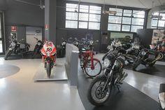 #Aprilia #RSV4 #sport #motorbike #motorcycle stands with #Moto #Guzzi #bikes in Pogliani dealer store