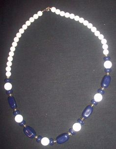 Vintage beaded Navy Blue White with gold colored accents 24 strand necklace NR #Unbranded #StrandString