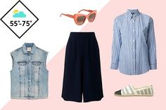 The Fashion Guide To The Weather Report #refinery29  http://www.refinery29.com/versatile-clothing#slide-11  55°F To 75°F Microclimates In places like San Francisco where the temperatures can change drastically from block to block, it's important to think in layers. Lightweight culottes let the air circulate if things get hot (but are long enough to ward off the chill), and an oversized vest is warm without being overbearing. It is still summer though, so keep your materials…