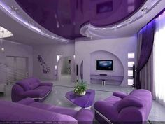 purple living room decorations with modern purple furniture, purple . Interior Exterior, Modern Interior, Exterior Design, Purple Home, Salons Violet, Purple Furniture, Luxury Furniture, Dream Rooms