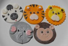 Safari Jungle Zoo Animal Faces Cupcake Toppers by TheLilDetails, $11.95