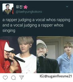 Well, at least he Taehyung raps good and Suga sing good...right?? #SUGA #TAEHYUNG
