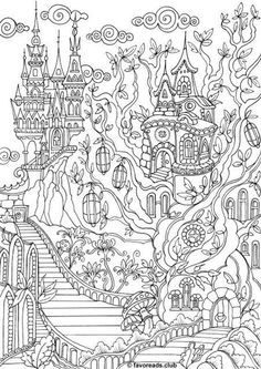 Fantasy City - Printable Adult Coloring Page from Favoreads (Coloring book pages for adults and kids, Coloring sheets, Coloring designs) Fantasy City Printable Adult Coloring Page from Favoreads Adult Coloring Book Pages, Printable Adult Coloring Pages, Free Coloring Pages, Coloring Sheets, Coloring Books, Garden Coloring Pages, Fairy Coloring, Mandala Coloring, Coloring For Kids