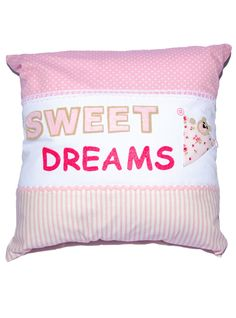 """A stunning focal point in your little ones nursery or bedroom, this beautiful Lucy style """"Sweet Dreams"""" cushion features luxury designer fabric with a sleepy peekaboo bear, varsity lettering & buttons that makes this extra special and adds a really chic finishing touch to any room. Bed Pillows, Cushions, Luxury Designer, Sweet Dreams, Little Ones, Fabric Design, Nursery, Buttons, Touch"""