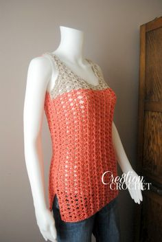 "Are you looking for an easy and fun crochet tank for this summer? The Breezy Shell Tank comes in sizes XS-2x. This lightweight tank will keep you ""cool"" all summer long. Free pattern."