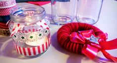 Christmas lights from jars and washi tape. Christmas decoration from styrofoam and yarn. Christmas Lights, Christmas Decorations, Washi Tape, Workshop, Jars, Desserts, Events, Food, Christmas House Lights