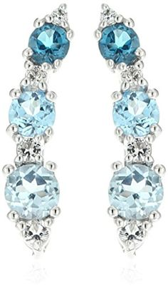 Sterling Silver Mixed Blue Topaz and White Topaz Climber Ear Cuffs *** Read more reviews of the product by visiting the link on the image.