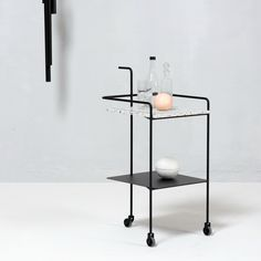 Confetti Trolley is a sturdy side table with a terrazzo tabletop combined with powder coated metal frame and rubber wheels. Ok Design, House Design, Folding Trolley, Acapulco Chair, Wooden Shelves, Discount Designer, Minimalist Design, Wardrobe Rack