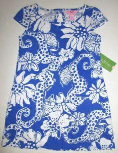 LILLY PULITZER Small JAYLYNNE Deep Sea Blue Quahog Chowdah Bow Dress NWT S 4 5 #LillyPulitzer #DressyEveryday