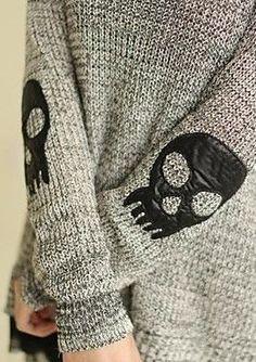 Skull Elbow Detail Sweater