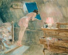 """By Louis Icart.""""A woman must have money and a room of her own if she is to write fiction"""" Virginia Woolf."""