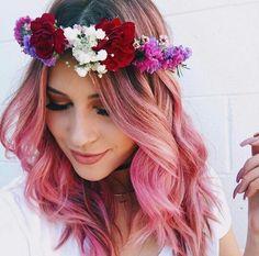 pink hair w flower wreath Bold Hair Color, Cut And Color, Hair Colours, Candy Hair, Dye My Hair, Mermaid Hair, Rainbow Hair, Love Hair, Hair Today