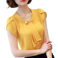 Summer solid chiffon blouse shirt short sleeve shirt women ladies office blouses fashion blusas yellow m Latest Fashion For Women, Womens Fashion, Ladies Fashion, Ladies Outfits, 50 Fashion, Fashion Styles, Fashion Photo, Style Fashion, Fashion Ideas