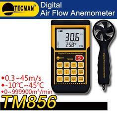 56.00$  Buy here - http://alied1.worldwells.pw/go.php?t=1401625750 - TECMAN  TM856 0.3~45m/s  -10 ~ 45 C 0 ~ 999900m  professional wind wheel air thermometer Split digital anemometer Meter 56.00$
