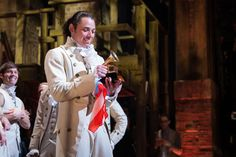 """Lin thrust the trophy into the air and said, """"Take pictures!""""… before handing the trophy to Anthony Ramos (John Laurens/Philip Hamilton) and saying, """"Now take pictures of Anthony with it!"""" (x) Open image in a new tab for full resolution! Photo credit: Cherie B. Tay"""