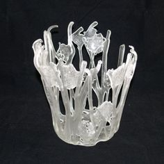 Large Fused Glass Clear Tangled Vessel