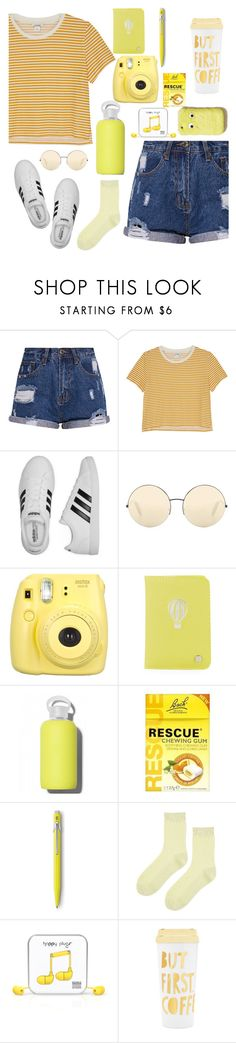 """""""Road trip"""" by blobbytheblobfish ❤ liked on Polyvore featuring Monki, adidas, Victoria Beckham, Fujifilm, Deux Lux, bkr, Caran d'Ache, Topshop, Happy Plugs and ban.do"""