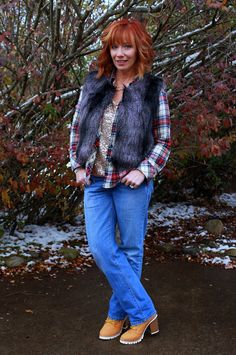 Fashion Fairy Dust faux fur vest, plaid flannel shirt, sequin top, boyfriend jeans, work boots, high heeled work boots #ootd #outfitinspiration #styleblog #outfit