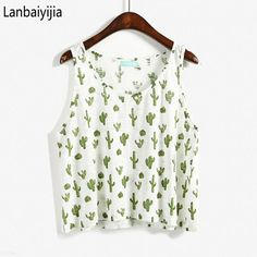 NEW Women t Shirt Cactus and Watermelon  Printing Sleeveless Students t Shirts One Size