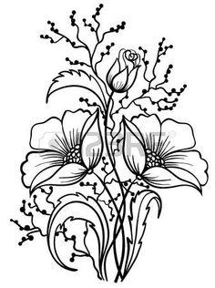 Arrangement van bloemen zwart-wit. Schema van het lijnen